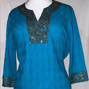 Ulla Popken teal aqua beaded tunic top